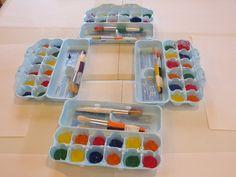 Egg cartons make great paint pallets