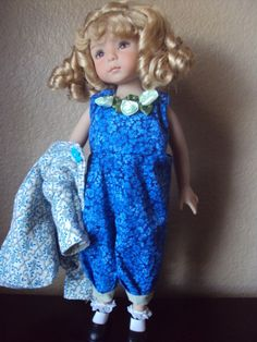 """INDIGO BLUE ROMPER  SET FOR EFFNER LITTLE DARLING/14""""BETSY McCALL BY CGREYROMA"""