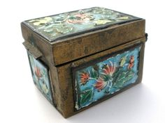 Vintage Chinese Stamp Box Cloisonne Enamel Floral Brass Pill Antique Boxes