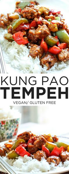 Love the flavor of Chinese take out, but want a healthier vegan version? This recipe is for you! Tempeh soaks up all the spicy, savory Kung Pao sauce and makes a super satisfying & DELICIOUS dinner that's quick and easy, too!  // tempeh recipes // vegan dinner ideas // vegan chinese food // healthy kung pao recipe //