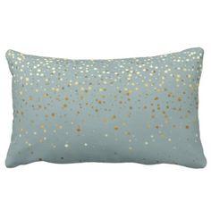 Indoor Pee Golden Stars Lumbar Pillow Seafoam