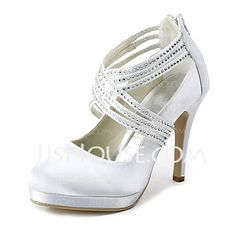 Wedding Shoes - $92.99 - Satin Stiletto Heel Closed Toe Platform Pumps Wedding Shoes With Buckle Rhinestone (047020114) http://jjshouse.com/Satin-Stiletto-Heel-Closed-Toe-Platform-Pumps-Wedding-Shoes-With-Buckle-Rhinestone-047020114-g20114