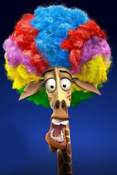 Rainbow Afro on that giraffe dude from Madagascar 3!