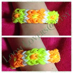 Loomed by Tina Ripolone Parker. Rainbow Loom design. Her variation of the CUBE pattern by LoomLove.