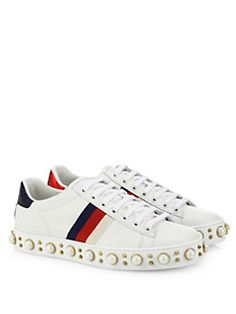 Gucci - Gucci New Ace Faux Pearl Studded Leather Low-Top Sneakers Gucci Shoes  Sneakers fd01887c6fa