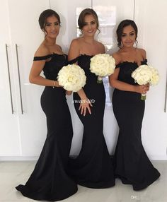 Black Mermaid Long Bridesmaid Dresses for Wedding 2017 Off Shoulder Lace  Beading Plus Size Guest Formal Evening Gowns Maid of Honor Dresses  Bridesmaid ... f52f653c2c19