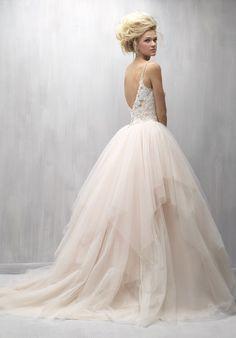 Featured Dress: Madison James; Extravagant blush tulle ballgown wedding dress idea.