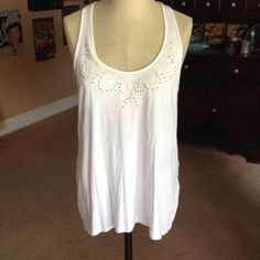 American Eagle Outfitters embroidered tank White embroidered tank with cream stitching and dark bronze beading.....crisscross back American Eagle Outfitters Tops Tank Tops