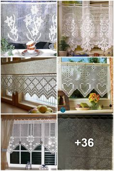 Crochet Curtain Pattern, Crochet Curtains, Curtain Patterns, Lace Curtains, Valance, Crochet Art, Filet Crochet, Diy Home Repair, Crochet Doll Clothes