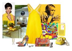 """1960s Yellow Mini Dress"" by katiethomas-2 ❤ liked on Polyvore featuring Walter Steiger, Dolce&Gabbana and Burberry"