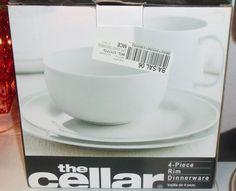 The Cellar Dinnerware, Whiteware 4 Piece Rim Round Place Setting  #THECELLAR #BlackFriday