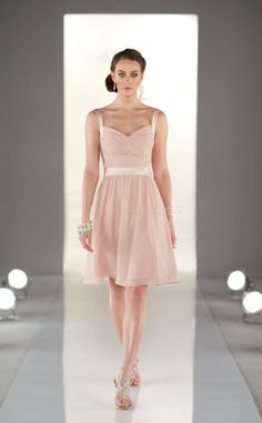 Pearl Pink Chiffon A-line Straps Short Bridesmaid Dress For Beach(NZBD06821) Love this dress - look light and would suit all of you