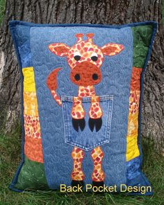 Red Orange Applique Giraffe on Recycled Denim Pillow