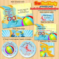 Free printable pool birthday party pack contains party invitation , thank you note card , bottle wrappers , thank you gift tag and return address labels!