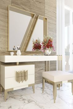Everly Quinn Lundberg Vanity Set with Stool and Mirror Color: High Gloss Unique Furniture, Home Decor Furniture, Furniture Design, Furniture Vanity, Vanity Table Set, Vanity Set With Mirror, Modern Drawers, Modern Dresser, Wood Bed Design