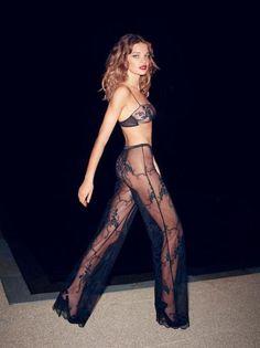 Lace sheer pants. [Natalia Vodianova]