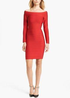 Red hot. Herve Leger Off Shoulder Bandage Dress.