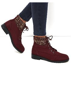 Dark Red Knitted Cuff Lace Up Ankle Boots    New Look