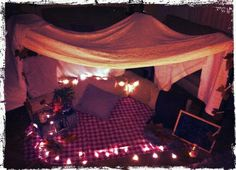 It's too cold to picnic outside, but nothing beats a fort and fairy lights for romance! #curvykate #valentineswishlist