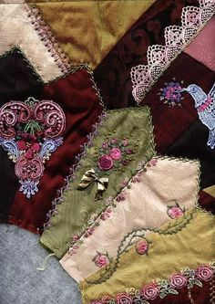 I ❤ crazy quilting & ribbon embroidery . . . Block # 6~