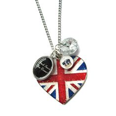 God Save the Queen Heart Union Jack Crown and Swarovski Diamond Jubilee Charm Necklace from Hoolala