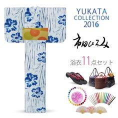 2016 Summer Hiromi Ichida women's Yukata set Blue Shibori look