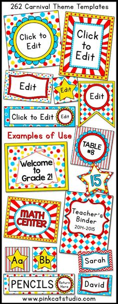 Carnival Circus Labels & Templates for Classroom Jobs, Binders, Supplies etc Let your imagination soar when you decorate your classroom . Circus Theme Classroom, Classroom Jobs, Classroom Displays, Preschool Classroom, Future Classroom, Classroom Organization, Classroom Decor, Classroom Labels, School Carnival