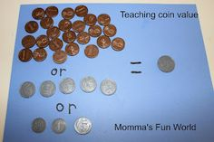 Momma's Fun World: Teaching money value - can do this in clay. Learning Money, Learning Time, Kids Learning, Money Activities, Math Resources, Educational Activities, Summer Activities, Learning Activities, Math Classroom