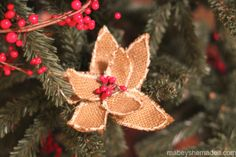 While He Was Napping: {Mabey She Made It} Burlap Poinsettia Ornament