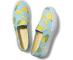 Double Decker Picnic in Pineapple Fruit Print. Slip On Sneakers for Women -  Slip On Shoes. Keds ...