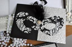 Black and white masquerade invitation for by InvitatiiCouture, $5.00