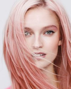 Blush-colored hair is perfect for a windswept summer look. #pinkhair #haircolor #beauty