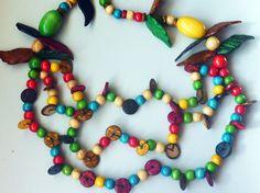Naszyjnik w klimacie hippie boho ekologiczny - Neko-No-Yume - Naszyjniki drewniane