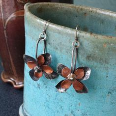 Mixed Metal Flower Spur Earrings in Copper and by MetalLuxe, $60.00