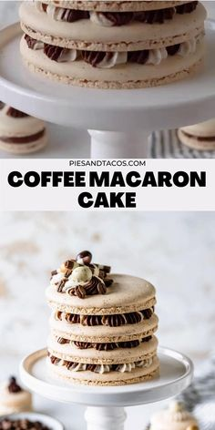 Coffee Macaron, Macaron Cake, Macaron Cookies, Fun Baking Recipes, Sweet Recipes, Cookie Recipes, Köstliche Desserts, Dessert Recipes, French Macaroon Recipes