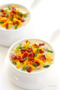 Slow Cooker Potato Soup -- so delicious, and made extra-easy in the crock pot! | gimmesomeoven.com