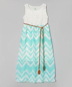 White & Mint Zigzag Maxi Dress - Girls