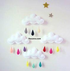 kece diy crafts mobile bulut yildiz yagmur mini mini BEBEK ODASI DEKORUNDA BULUT YAĞMUR MOBİLİ