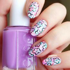 Watercolour flowers @ prettylittlenails