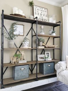 Our large shelving unit in our living room was starting to get a little cluttered, so over the weekend I took everything off and decided to simplify.I dusted everything and choose only my favorite … Living room shelves Modern Farmhouse Living Room Decor, Farmhouse Style, Farmhouse Design, Farmhouse Ideas, Rustic Farmhouse, Modern Living, Farmhouse Office, Farmhouse Interior, Small Living