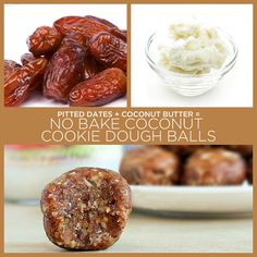 Pitted Dates + Coconut Butter = No Bake Coconut Cookie Dough Balls