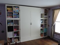 Ikea shelves with a custom murphy bed installation.
