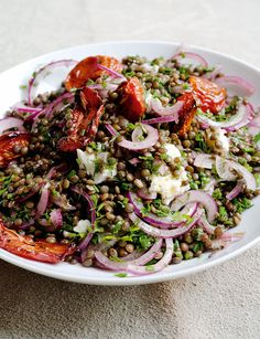Scrumpdillyicious: Castelluccio Lentils with Tomatoes & Gorgonzola/Oven-dried tomatoes: 5 plum tomatoes 8 thyme sprigs 1 tbsp olive oil 2 tbsp balsamic vinegar Salt Lentil Salad: 1 small red onion, very thinly sliced 1 tbsp good-quality red wine vinegar 1 tsp Maldon sea salt 1 1/3 cups Castelluccio lentils 3 tbsp olive oil 1 garlic clove, crushed black pepper 3 tbsp chopped chervil or parsley 3 tbsp chopped chives 4 tbsp chopped dill 3 oz mild Gorgonzola, crumbled