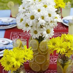 Lemon and flowers in mason jar.think would work for various party ages
