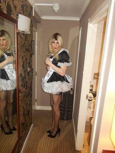 Sissy cute maid blonde
