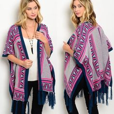 Kimono Poncho CardiganS M L This thick knit cardigan features an open front, colorful tribal print and fringe trim on hem. Sizes: S M L.  comment below with your sides and I will create a separate listing for you to purchase. ✨I discount on bundles. Sweaters