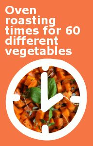Softer vegetables require shorter roasting times than hard root vegetables. These extensive charts show the approximate roasting times for 60 common (and some less common!) vegetables in a conventional pre-heated oven at 450 degrees Fahrenheit. Vegetable Dishes, Vegetable Recipes, Vegetarian Recipes, Healthy Recipes, Vegetable Chart, Healthy Cooking, Cooking Tips, Cooking Recipes, Cooking Classes