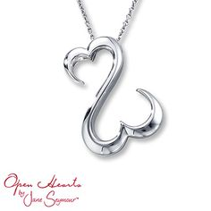 The signature Open Hearts by Jane Seymour® design takes center stage in this beautiful necklace for her. The fashion jewelry pendant is styled in sterling silver and suspended from an 18-inch cable chain that is secured with a lobster clasp.