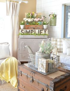 A Vintage Dresser and a Pretty Spring Vignette