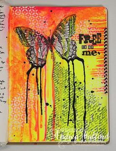 Free to be me - Butterfly art journal page by Andrea Walford